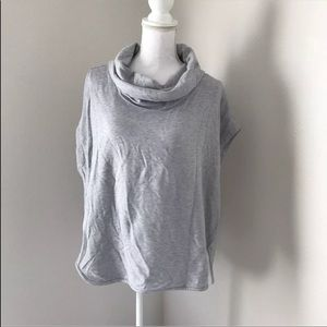 Lou & Grey Cowl Neck Top Size M Heathered Gray